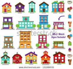 Vector Collection of City and Town Buildings, including various ...