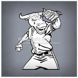 Bull Throwing Baseball Clipart