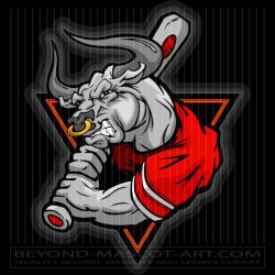 Bull Baseball Batter Cartoon Vector Baseball Image