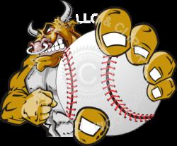 Bull holding baseball