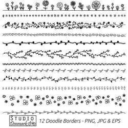 Floral Doodle Borders Clipart Set - Commercial Use - 12 Flower ...