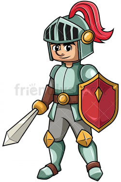 Knight Holding Sword And Shield Cartoon Vector Clipart