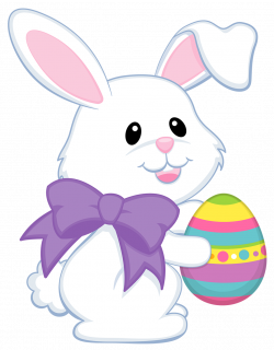 Easter Cute Bunny with Purple Bow Transparent PNG Clipart | Gallery ...