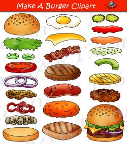 Build a Burger Clipart Hamburger Maker Bundle #digital #graphics ...