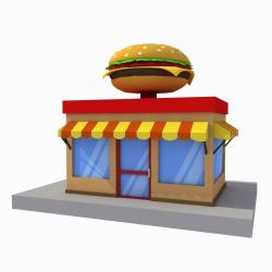 cartoon burger house building low poly 3D asset   CGTrader
