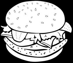 Chicken Burger (b And W) Clip Art at Clker.com - vector clip art ...