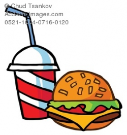 Clipart Image of A Cheeseburger With a Cup of Soda Pop
