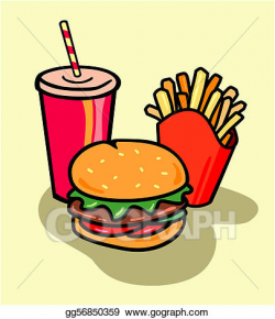 Stock Illustration - Burger combo with fries and soda. Clipart ...