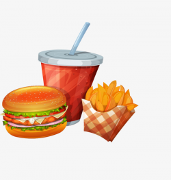 Cartoon Burger Cola Soda, Hand Painted, Fries, Soft Drinks PNG Image ...
