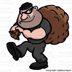 Cartoon Burglar Clip Art Stock Illustration - Coghill Cartooning