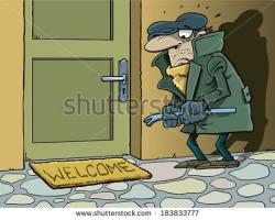 Stranger in house clipart