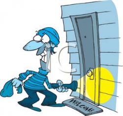 Clipart Image: A Burglar Breaking Into a House