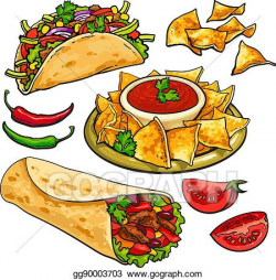 Vector Clipart - Set of traditional mexican food - burrito, taco ...