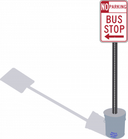 Clipart - Bus Stop sign in cement pail with shadow