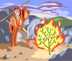 Moses and the Burning Bush Fable - Royalty Free Clipart Picture