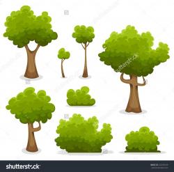 Forest Trees, Hedges And Bush Set/ Illustration of a set of cartoon ...