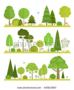Set of flat vector forest elements: trees, spruce, pine, grass ...
