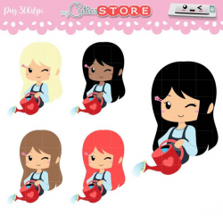 Chibi Watering Plants Clipart Kawaii girl with gathering