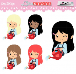 Chibi watering plants clipart - kawaii girl with gathering can digital  graphics for planner Stickers or scrapbooking - commercial use ok