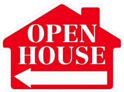 Amazon.com : OPEN HOUSE Sign with Arrow - House Shape Corrugated ...