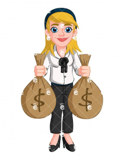 Businesswoman Holding Money Bags Vector Cartoon Clipart | Large bags ...