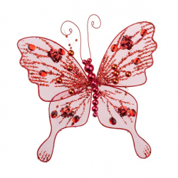 Dark Burgundy Red Wired Painted Feather Glitter Butterflies - 12 x ...