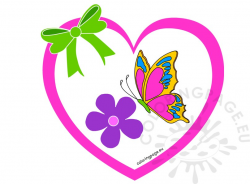 Heart with flower and butterfly clipart | Coloring Page