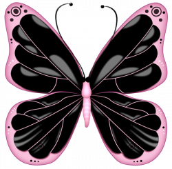 Black and Pink Transparent Butterfly Clipart | Fibro Faith Hope ...