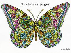 Sue Zipkin printable set of 3 butterfly mandala & flower
