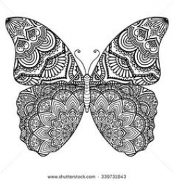 Butterfly. Vintage decorative elements with mandalas. Oriental ...
