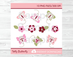 Cute Butterfly Clipart / Pink & Burgundy Butterfly Baby Shower Clip ...