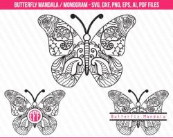 Butterfly mandala svg monogram svg Butterfly clipart