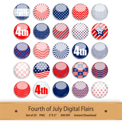 Scrapbook Digital Flair Fourth of July 4th Button Element Clipart ...