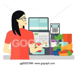 Vector Art - Cashier at supermarket checkout. Clipart Drawing ...