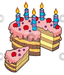 Cartoon sliced birthday cake stock vector