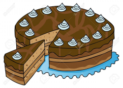 chocolate cake clipart cartoon - pencil and in color chocolate ...