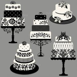 Elegant Wedding or Birthday Cake Clip Art Set - printable digital ...