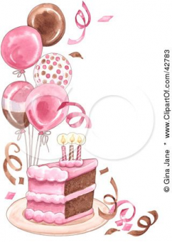 Clipart Illustration of a Slice Of Birthday Cake With Balloons And ...