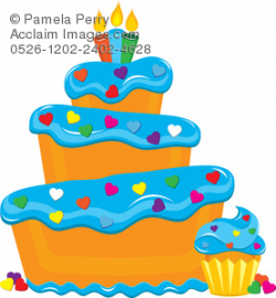 Clip Art Illustration of a Bakery Cupcake and Cake With Heart Shaped ...