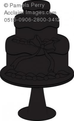 Clip Art Illustration of a Wedding Cake Silhouette