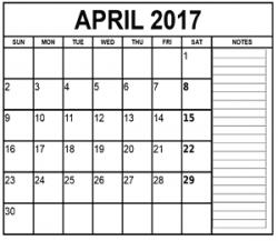 April 2017 Calendar Clipart - Calendar And Images