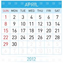 Calendar April Month Clipart