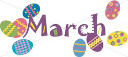 Colorful March Easter Eggs | Christian Calendar Clipart