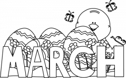 Black and White Month of March Easter Clip Art - Black and White ...