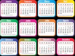 Grade Calendário 2018 Colorida » Imagem Legal | Calendários 2018 ...