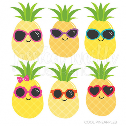 Cool Pineapples Cute Digital Clipart, Commercial Use OK, Pineapple ...