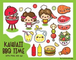 Kawaii clip art, BBQ clipart, labor day clipart, kid clipart, picnic ...