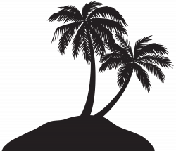 Island with Palm Trees Silhouette PNG Clip Art Image | Gallery ...