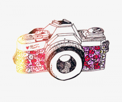Beautiful Hand-painted Color Camera, Camera, Pretty, Color PNG Image ...