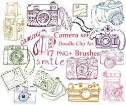 Doodle camera clip art: CAMERA CLIPART ABR brushes